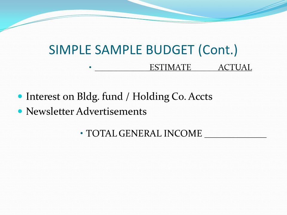 SIMPLE SAMPLE BUDGET (Cont.) ESTIMATEACTUAL Interest on Bldg.