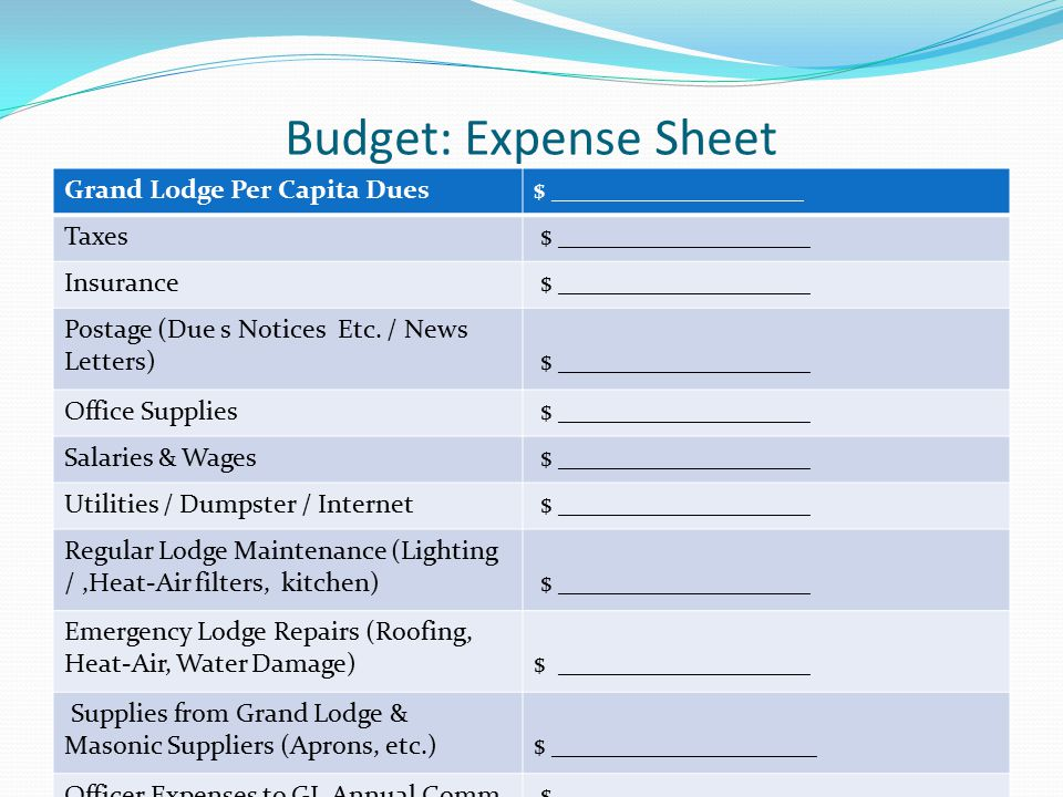 Budget: Expense Sheet Grand Lodge Per Capita Dues$ ___________________ Taxes $ ___________________ Insurance $ ___________________ Postage (Due s Notices Etc.