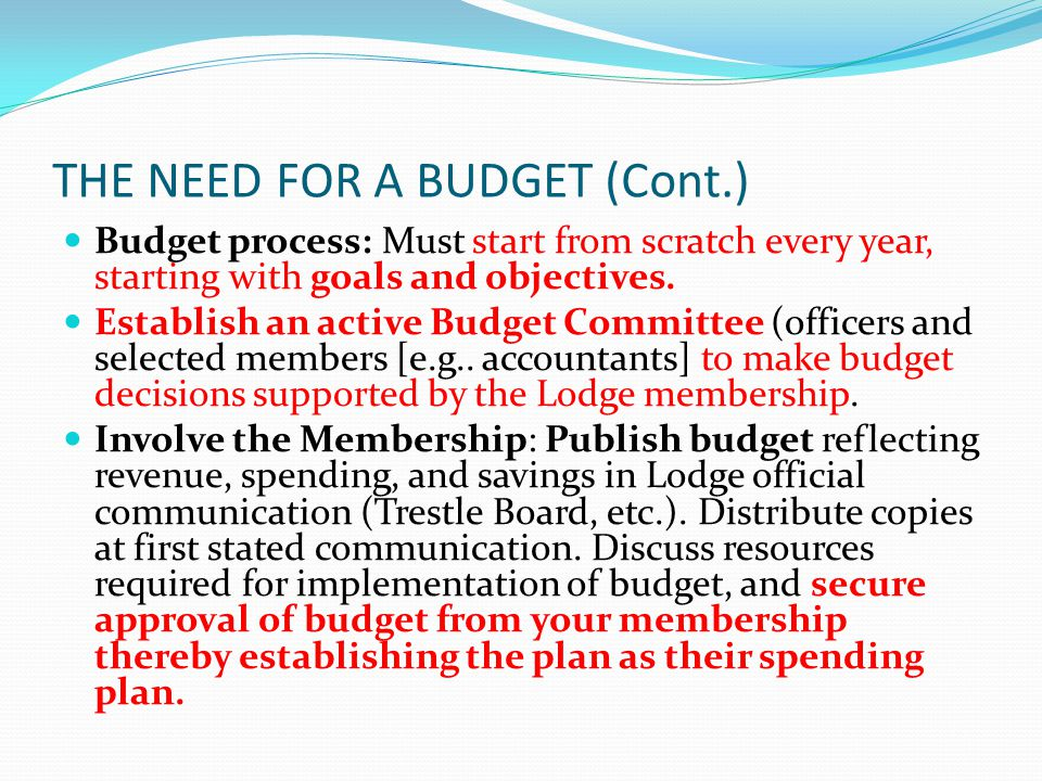 THE NEED FOR A BUDGET (Cont.) Budget process: Must start from scratch every year, starting with goals and objectives.