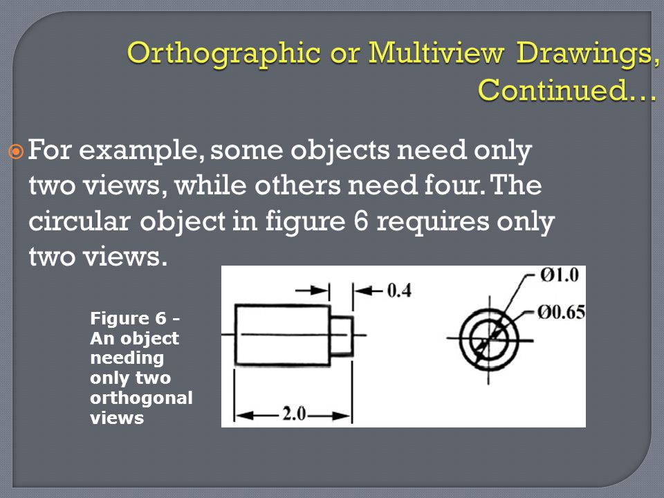 Orthographic or Multiview Drawings, Continued…  For example, some objects need only two views, while others need four. The circular object in figure