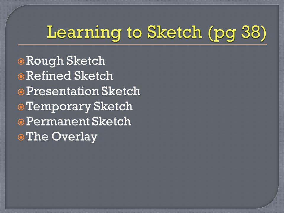  Rough Sketch  Refined Sketch  Presentation Sketch  Temporary Sketch  Permanent Sketch  The Overlay