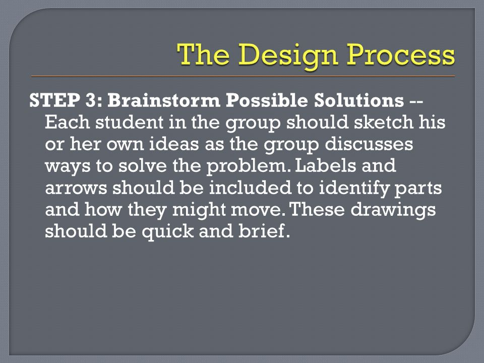 STEP 3: Brainstorm Possible Solutions -- Each student in the group should sketch his or her own ideas as the group discusses ways to solve the problem