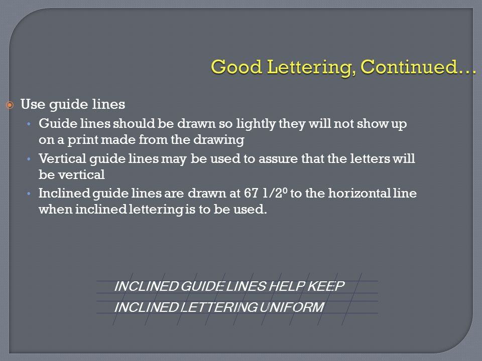 Good Lettering, Continued…  Use guide lines Guide lines should be drawn so lightly they will not show up on a print made from the drawing Vertical gu