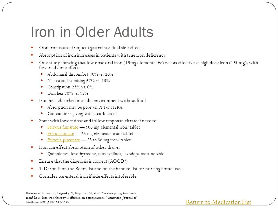 Iron in Older Adults Oral iron causes frequent gastrointestinal side effects. Absorption of iron increases in patients with true iron deficiency. One