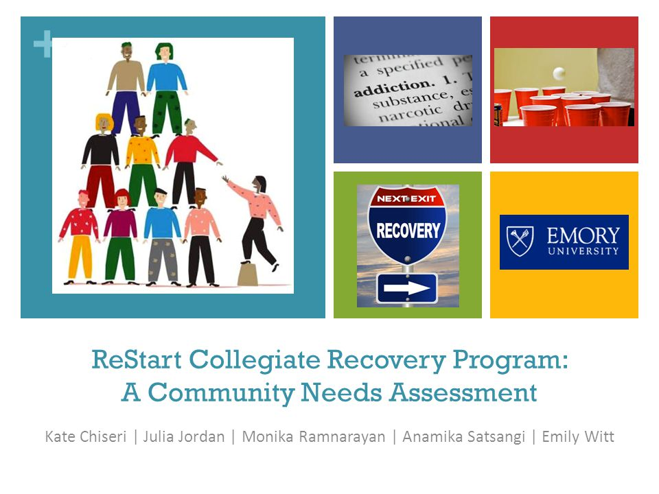 + ReStart Collegiate Recovery Program: A Community Needs Assessment Kate Chiseri | Julia Jordan | Monika Ramnarayan | Anamika Satsangi | Emily Witt