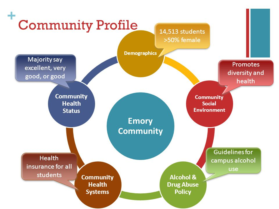 + Community Profile Emory Community Demographics Community Social Environment Alcohol & Drug Abuse Policy Community Health Systems Community Health Status 14,513 students >50% female 14,513 students >50% female Health insurance for all students Majority say excellent, very good, or good Promotes diversity and health Guidelines for campus alcohol use