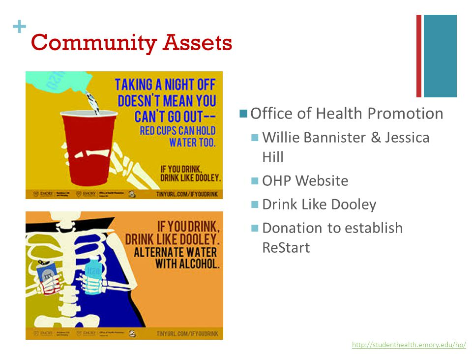 + Community Assets Office of Health Promotion Willie Bannister & Jessica Hill OHP Website Drink Like Dooley Donation to establish ReStart http://studenthealth.emory.edu/hp/