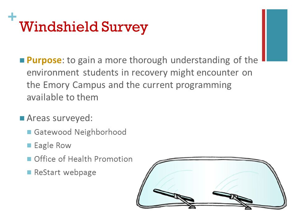 + Windshield Survey Purpose: to gain a more thorough understanding of the environment students in recovery might encounter on the Emory Campus and the current programming available to them Areas surveyed: Gatewood Neighborhood Eagle Row Office of Health Promotion ReStart webpage