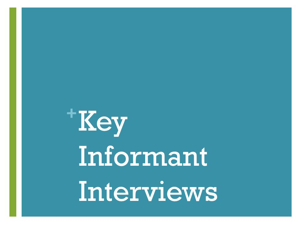 + Key Informant Interviews