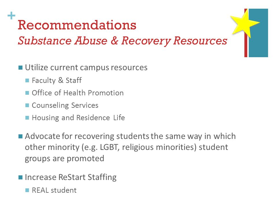 + Recommendations Substance Abuse & Recovery Resources Utilize current campus resources Faculty & Staff Office of Health Promotion Counseling Services Housing and Residence Life Advocate for recovering students the same way in which other minority (e.g.