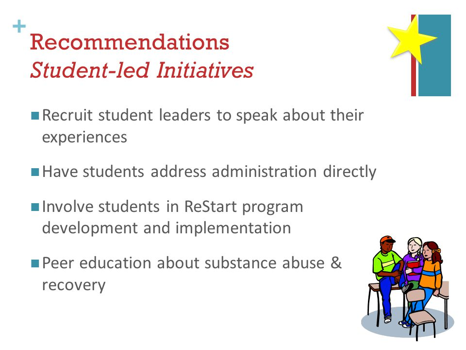 + Recommendations Student-led Initiatives Recruit student leaders to speak about their experiences Have students address administration directly Involve students in ReStart program development and implementation Peer education about substance abuse & recovery