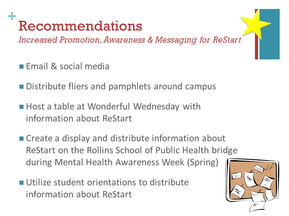 + Recommendations Increased Promotion, Awareness & Messaging for ReStart Email & social media Distribute fliers and pamphlets around campus Host a table at Wonderful Wednesday with information about ReStart Create a display and distribute information about ReStart on the Rollins School of Public Health bridge during Mental Health Awareness Week (Spring) Utilize student orientations to distribute information about ReStart