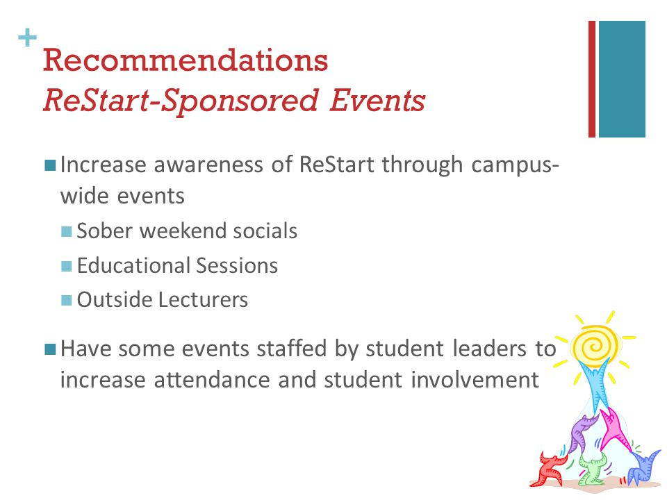 + Recommendations ReStart-Sponsored Events Increase awareness of ReStart through campus- wide events Sober weekend socials Educational Sessions Outside Lecturers Have some events staffed by student leaders to increase attendance and student involvement