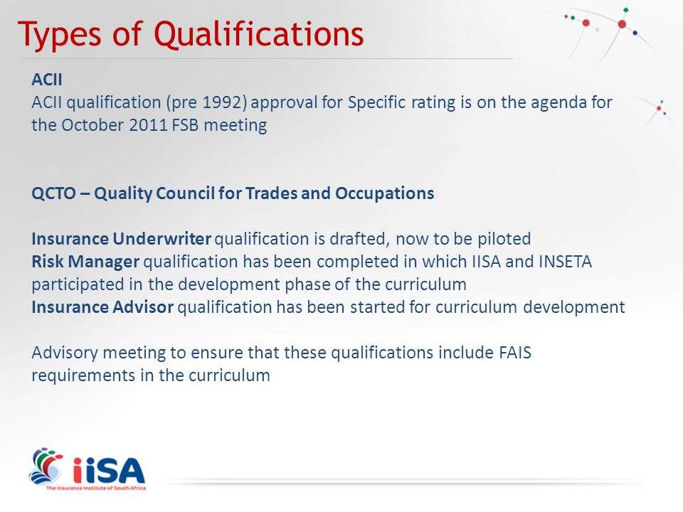 Types of Qualifications ACII ACII qualification (pre 1992) approval for Specific rating is on the agenda for the October 2011 FSB meeting QCTO – Quality Council for Trades and Occupations Insurance Underwriter qualification is drafted, now to be piloted Risk Manager qualification has been completed in which IISA and INSETA participated in the development phase of the curriculum Insurance Advisor qualification has been started for curriculum development Advisory meeting to ensure that these qualifications include FAIS requirements in the curriculum
