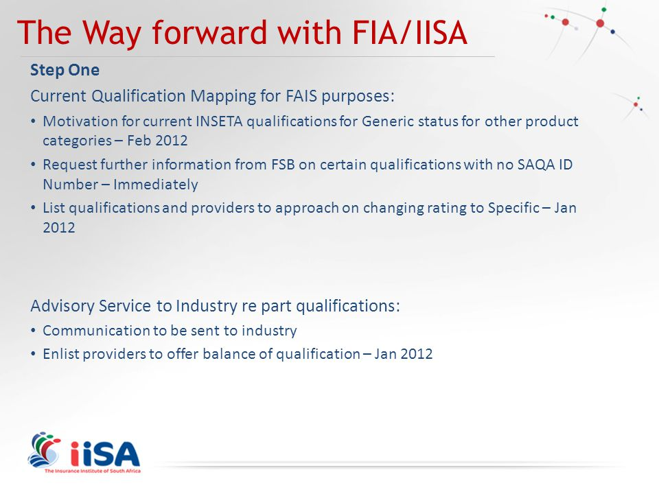 The Way forward with FIA/IISA Step One Current Qualification Mapping for FAIS purposes: Motivation for current INSETA qualifications for Generic status for other product categories – Feb 2012 Request further information from FSB on certain qualifications with no SAQA ID Number – Immediately List qualifications and providers to approach on changing rating to Specific – Jan 2012 Advisory Service to Industry re part qualifications: Communication to be sent to industry Enlist providers to offer balance of qualification – Jan 2012