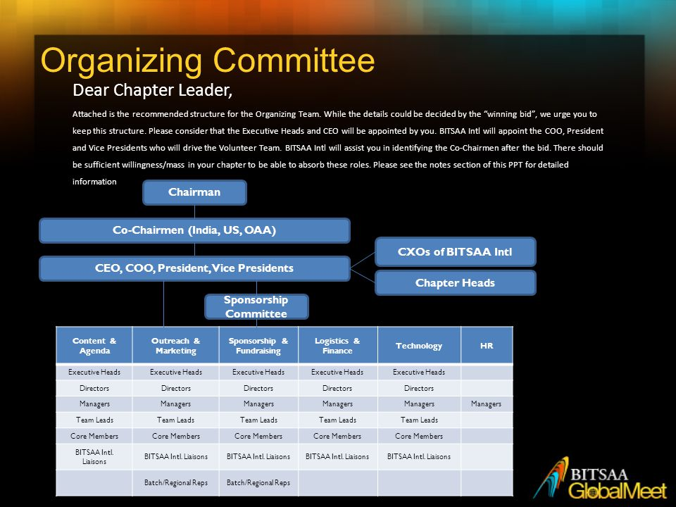 Organizing Committee Dear Chapter Leader, Attached is the recommended structure for the Organizing Team.
