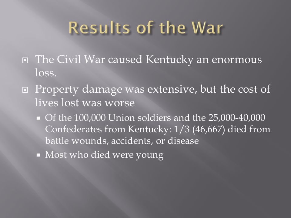  The Civil War caused Kentucky an enormous loss.