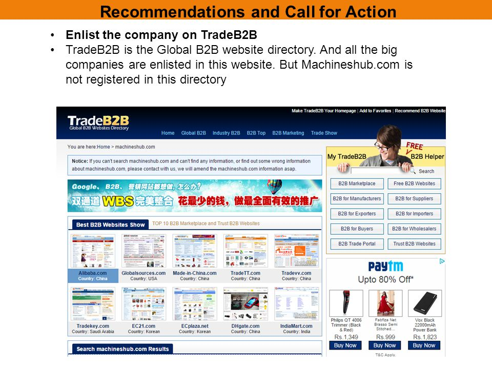 Recommendations and Call for Action Enlist the company on TradeB2B TradeB2B is the Global B2B website directory.