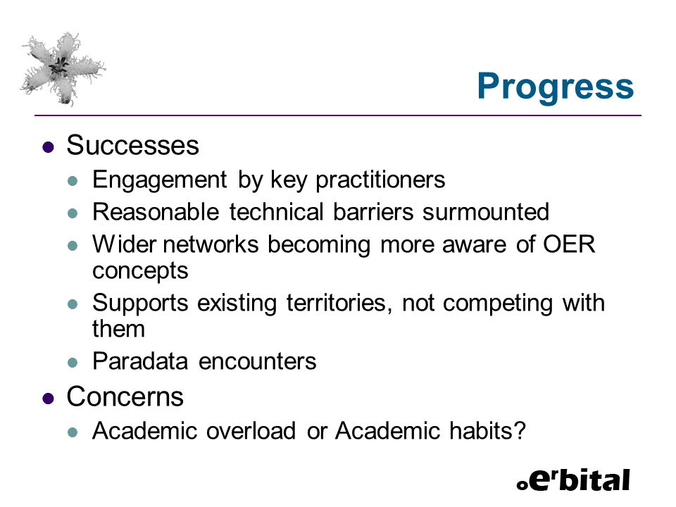 Progress Successes Engagement by key practitioners Reasonable technical barriers surmounted Wider networks becoming more aware of OER concepts Supports existing territories, not competing with them Paradata encounters Concerns Academic overload or Academic habits