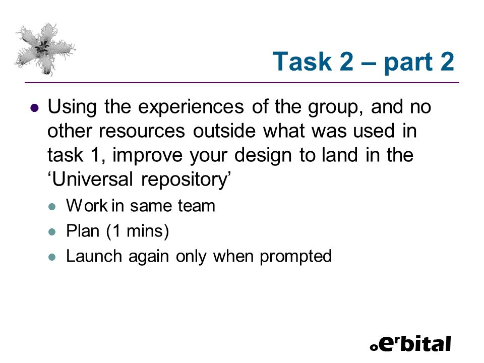 Task 2 – part 2 Using the experiences of the group, and no other resources outside what was used in task 1, improve your design to land in the 'Univer