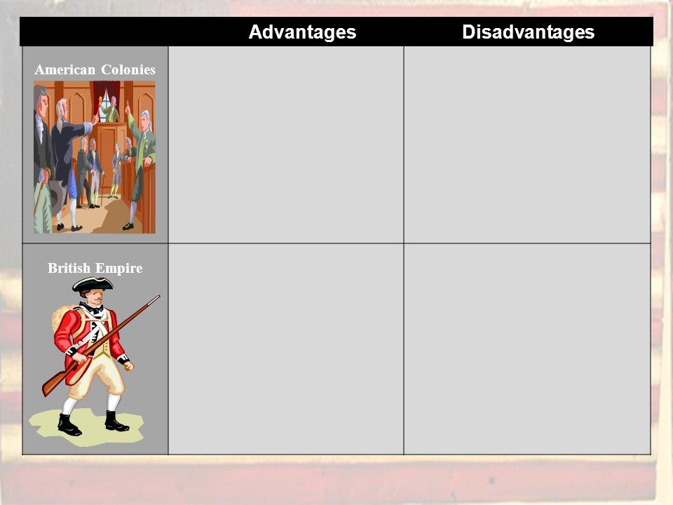 American Colonies British Empire Advantages Disadvantages