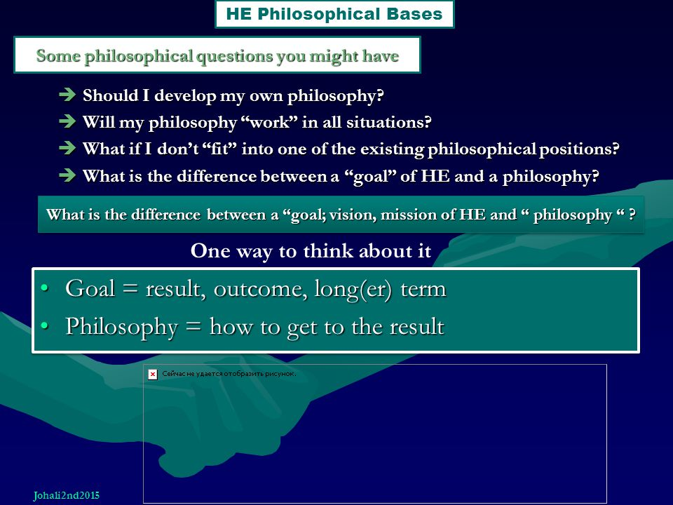 """Some philosophical questions you might have  Should I develop my own philosophy?  Will my philosophy """"work"""" in all situations?  What if I don't """"fi"""