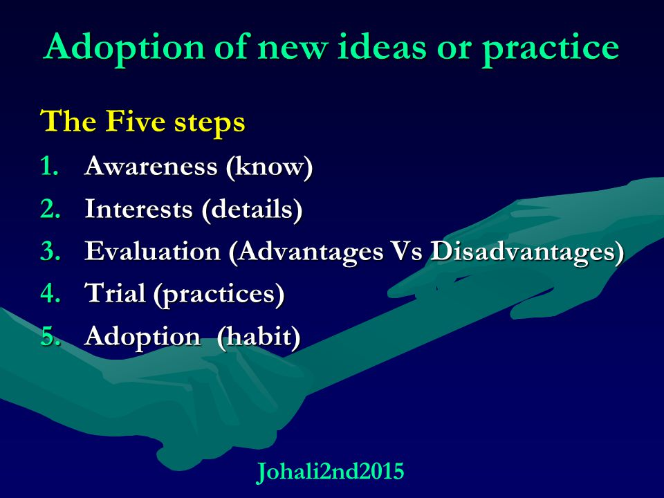 Adoption of new ideas or practice The Five steps 1.Awareness (know) 2.Interests (details) 3.Evaluation (Advantages Vs Disadvantages) 4.Trial (practice