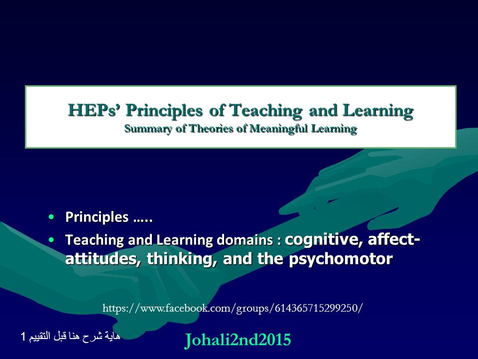 HEPs' Principles of Teaching and Learning Summary of Theories of Meaningful Learning Principles …..Principles ….. Teaching and Learning domains : cogn
