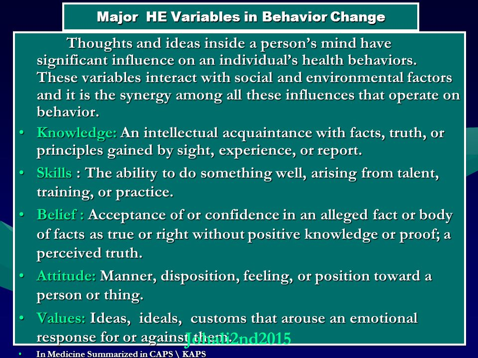 Major HE Variables in Behavior Change Thoughts and ideas inside a person's mind have significant influence on an individual's health behaviors.
