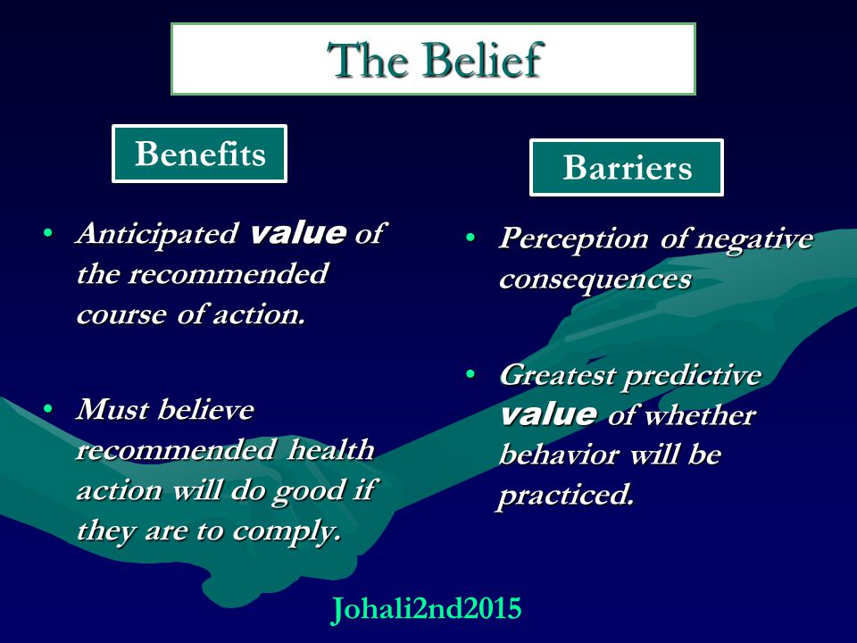 The Belief Anticipated value of the recommended course of action.Anticipated value of the recommended course of action.