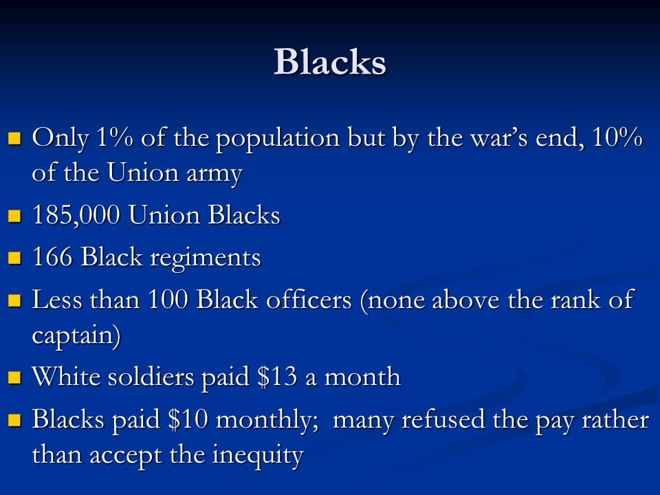 Blacks Only 1% of the population but by the war's end, 10% of the Union army Only 1% of the population but by the war's end, 10% of the Union army 185,000 Union Blacks 185,000 Union Blacks 166 Black regiments 166 Black regiments Less than 100 Black officers (none above the rank of captain) Less than 100 Black officers (none above the rank of captain) White soldiers paid $13 a month White soldiers paid $13 a month Blacks paid $10 monthly; many refused the pay rather than accept the inequity Blacks paid $10 monthly; many refused the pay rather than accept the inequity