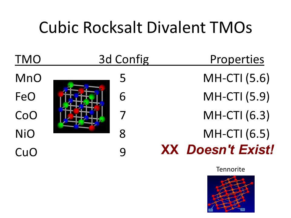 Cubic Rocksalt Divalent TMOs TMO3d Config Properties MnO 5 MH-CTI (5.6) FeO 6 MH-CTI (5.9) CoO7 MH-CTI (6.3) NiO 8 MH-CTI (6.5) CuO9 XX Doesn t Exist!