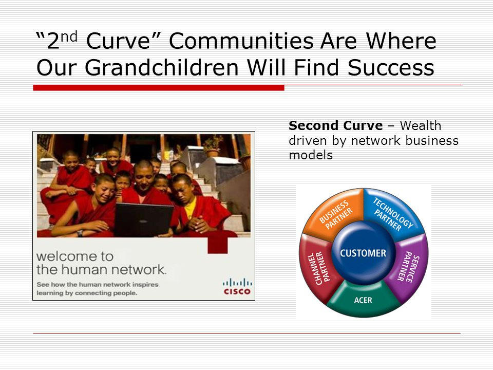 """2 nd Curve"" Communities Are Where Our Grandchildren Will Find Success Second Curve – Wealth driven by network business models"