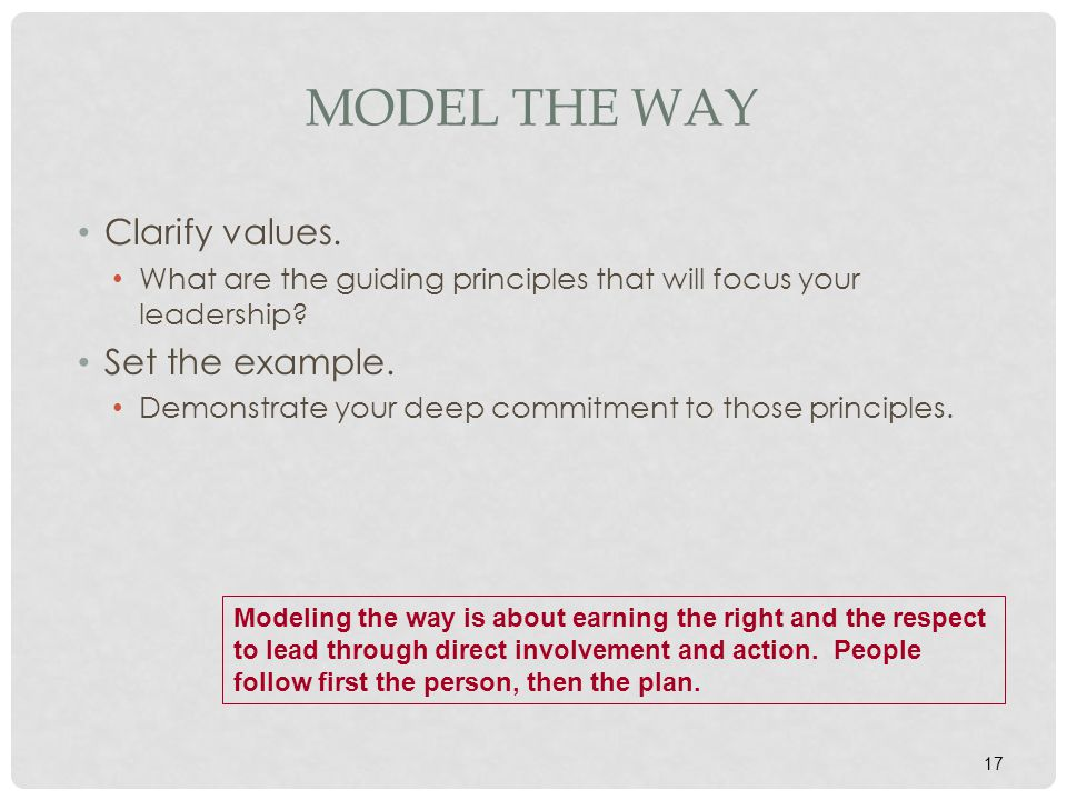 17 MODEL THE WAY Clarify values. What are the guiding principles that will focus your leadership? Set the example. Demonstrate your deep commitment to