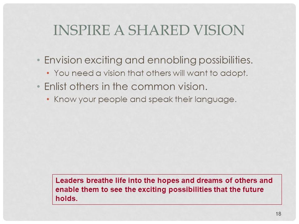 18 INSPIRE A SHARED VISION Envision exciting and ennobling possibilities. You need a vision that others will want to adopt. Enlist others in the commo