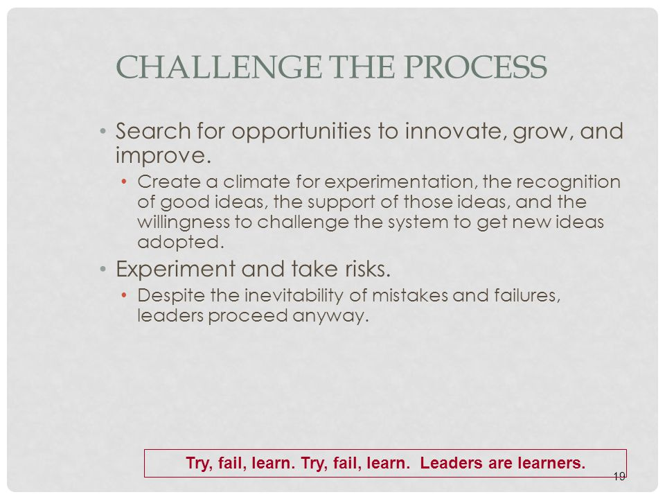 19 CHALLENGE THE PROCESS Search for opportunities to innovate, grow, and improve. Create a climate for experimentation, the recognition of good ideas,