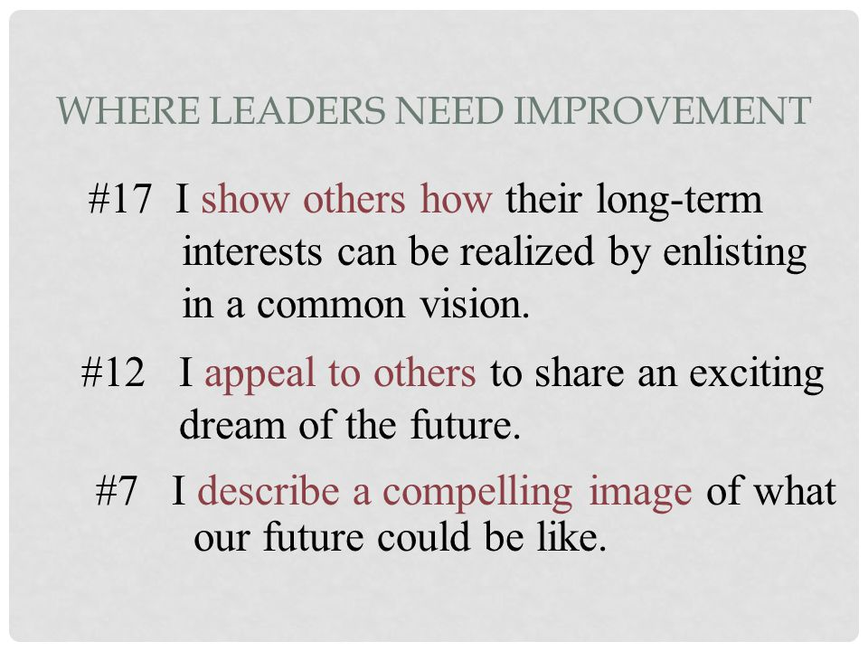 WHERE LEADERS NEED IMPROVEMENT #7 I describe a compelling image of what our future could be like. #12 I appeal to others to share an exciting dream of