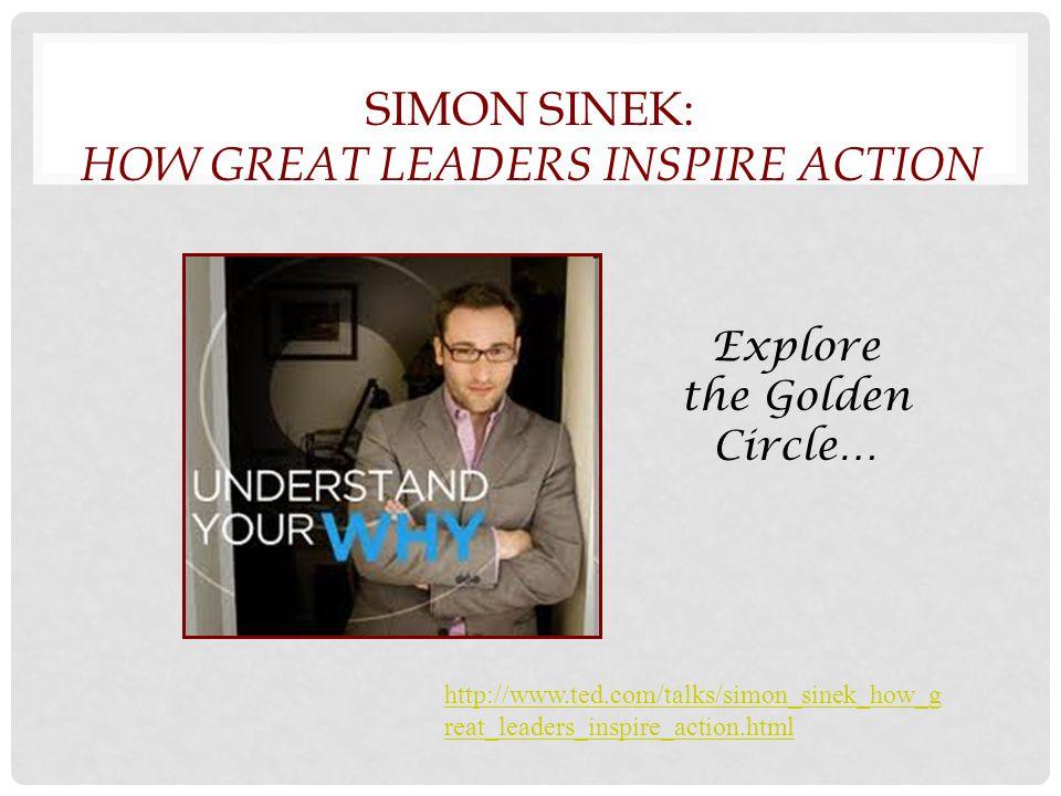 SIMON SINEK: HOW GREAT LEADERS INSPIRE ACTION http://www.ted.com/talks/simon_sinek_how_g reat_leaders_inspire_action.html Explore the Golden Circle…