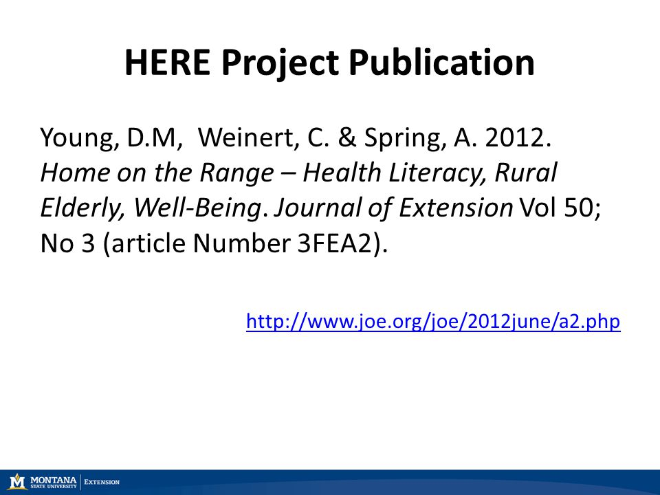HERE Project Publication Young, D.M, Weinert, C. & Spring, A.