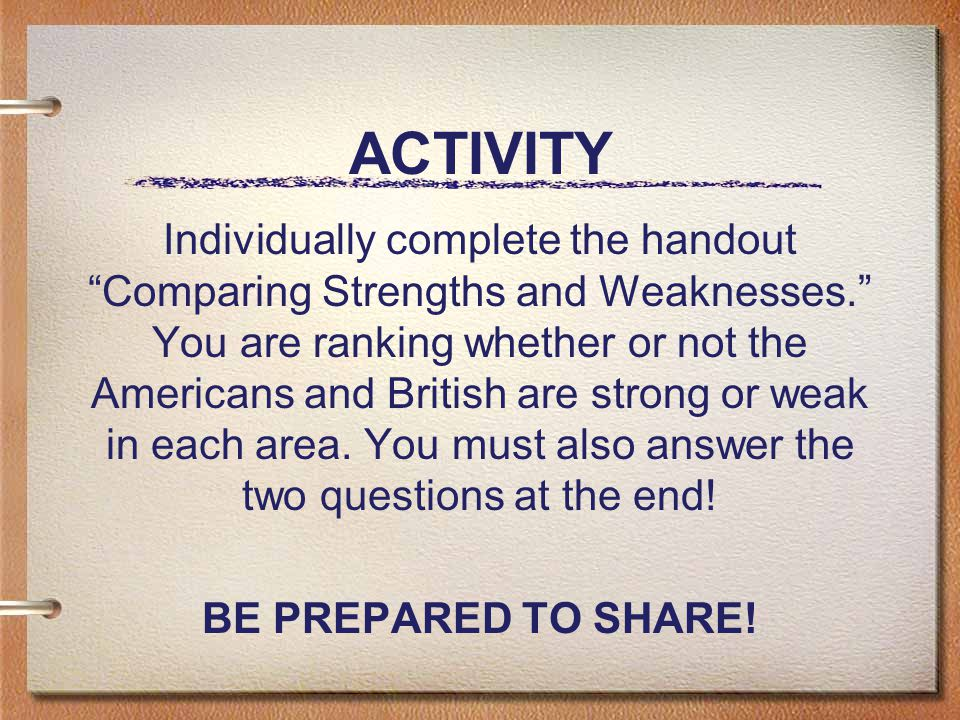ACTIVITY Individually complete the handout Comparing Strengths and Weaknesses. You are ranking whether or not the Americans and British are strong or weak in each area.