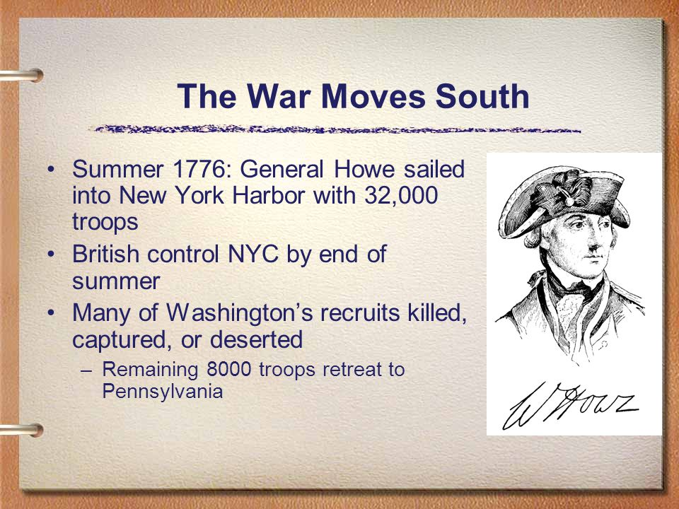 The War Moves South Summer 1776: General Howe sailed into New York Harbor with 32,000 troops British control NYC by end of summer Many of Washington's recruits killed, captured, or deserted –Remaining 8000 troops retreat to Pennsylvania