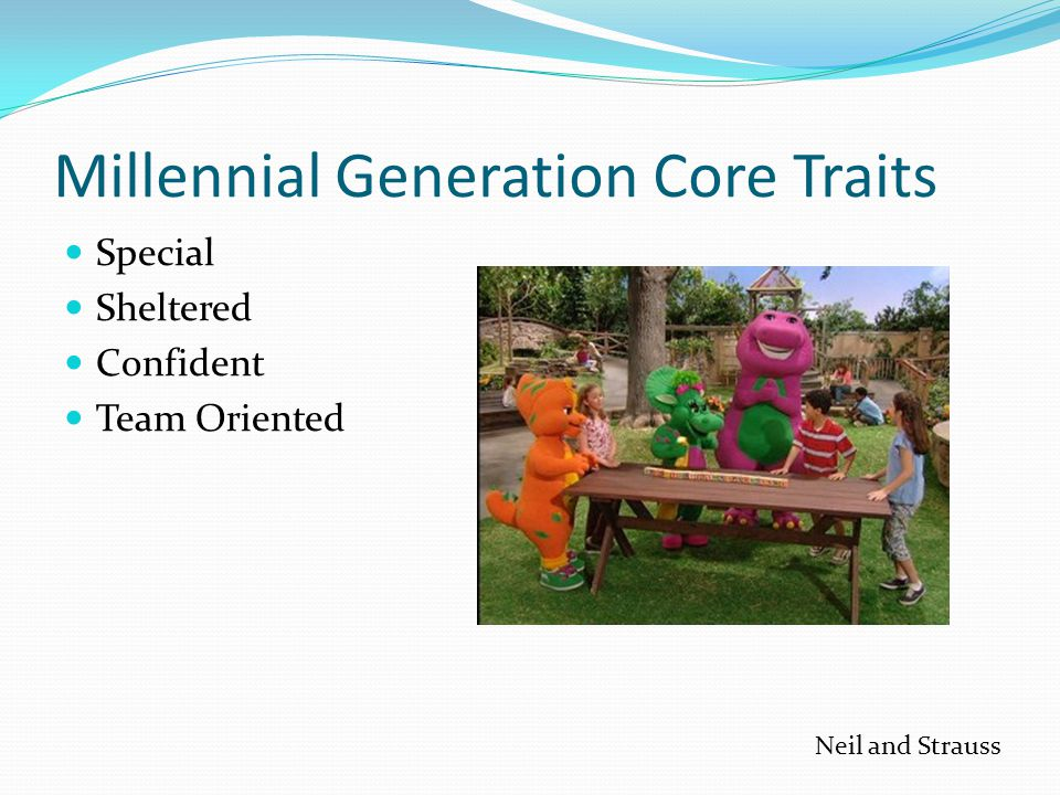 Millennial Generation Core Traits Special Sheltered Confident Team Oriented Neil and Strauss