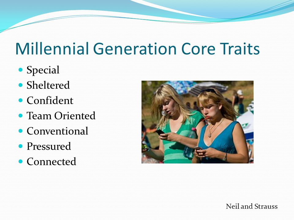 Millennial Generation Core Traits Special Sheltered Confident Team Oriented Conventional Pressured Connected Neil and Strauss