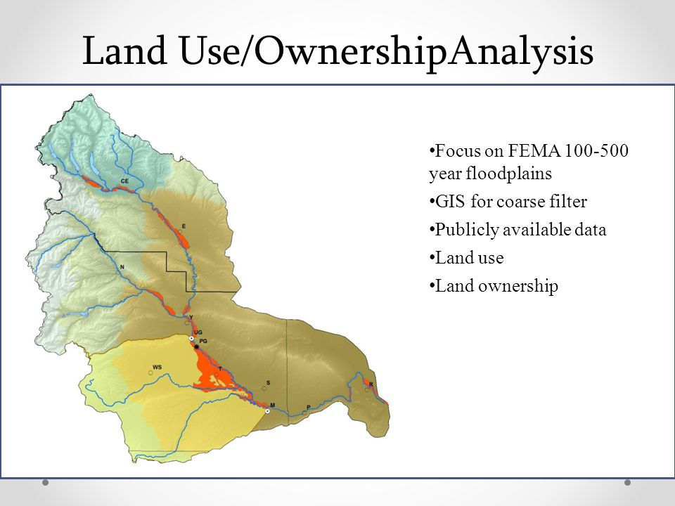 Land Use/OwnershipAnalysis Focus on FEMA 100-500 year floodplains GIS for coarse filter Publicly available data Land use Land ownership