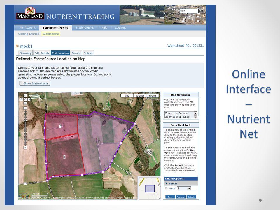 Online Interface – Nutrient Net