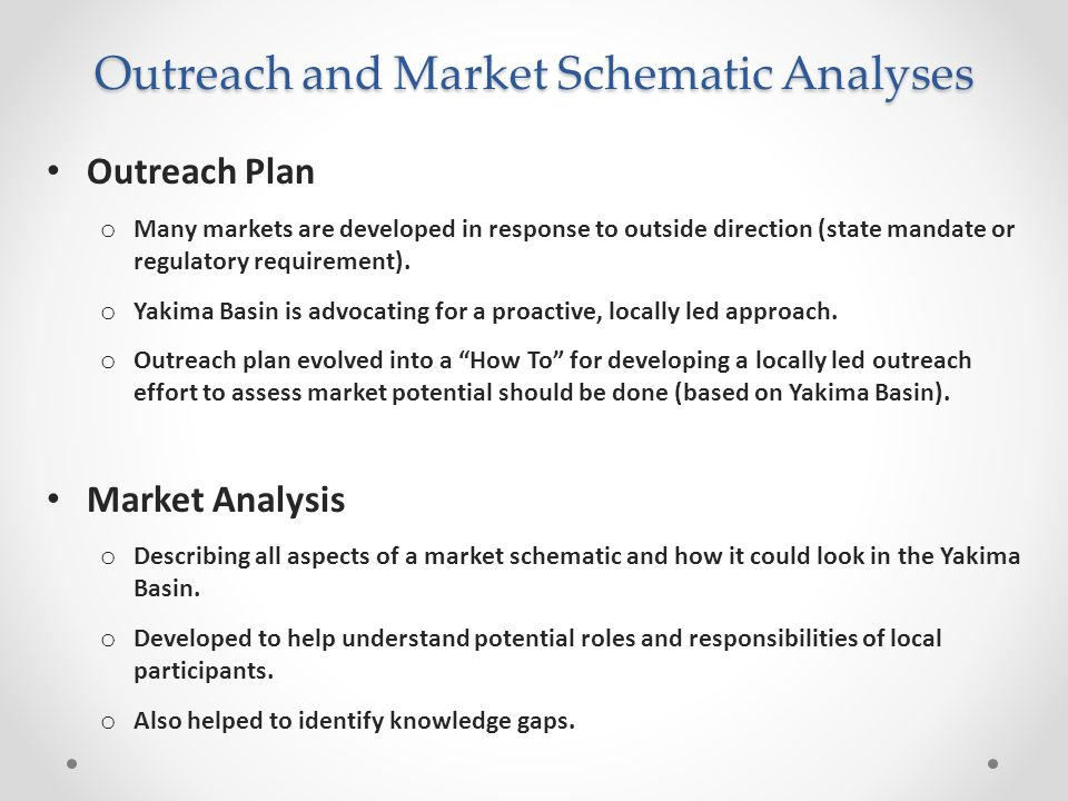 Outreach and Market Schematic Analyses Outreach Plan o Many markets are developed in response to outside direction (state mandate or regulatory requirement).