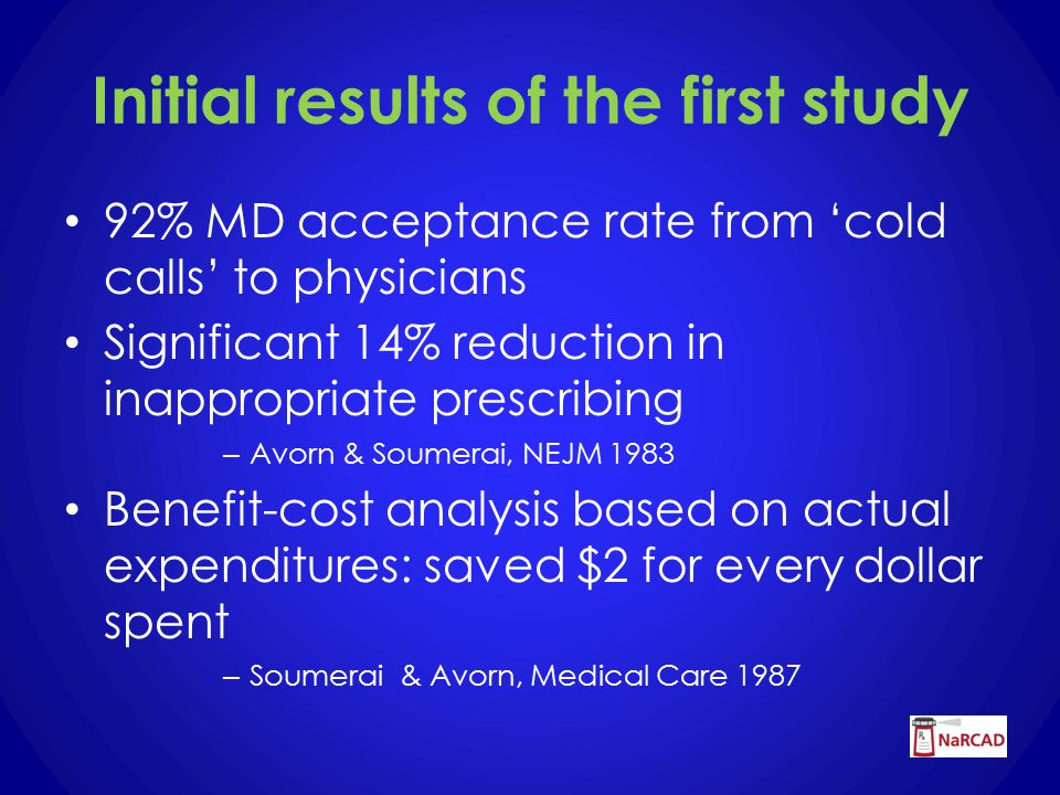 Initial results of the first study 92% MD acceptance rate from 'cold calls' to physicians Significant 14% reduction in inappropriate prescribing – Avorn & Soumerai, NEJM 1983 Benefit-cost analysis based on actual expenditures: saved $2 for every dollar spent – Soumerai & Avorn, Medical Care 1987