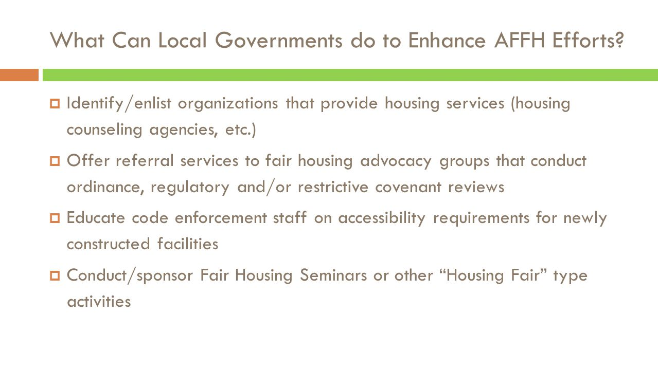 What Can Local Governments do to Enhance AFFH Efforts.