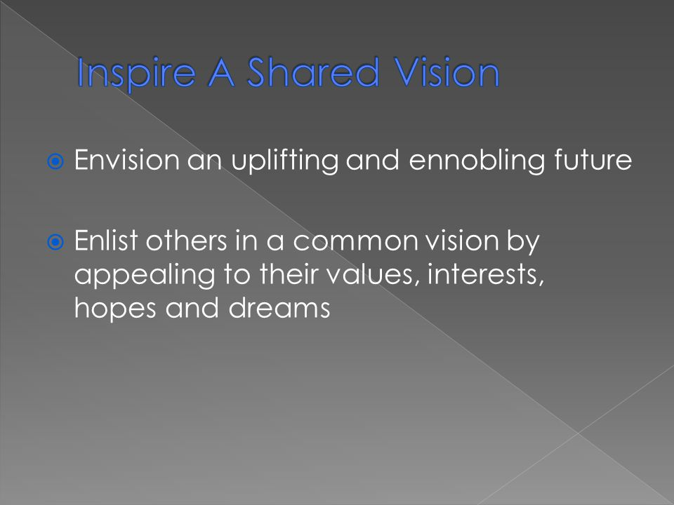  Envision an uplifting and ennobling future  Enlist others in a common vision by appealing to their values, interests, hopes and dreams
