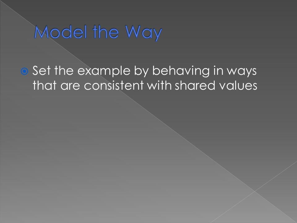  Set the example by behaving in ways that are consistent with shared values
